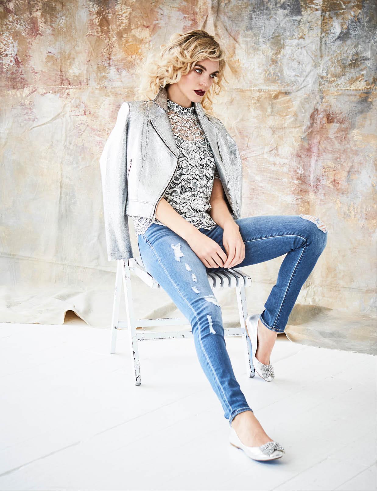 Trina Turk lace blouse, $228, Belk. In Awe metallic jacket, $79, Macy's. Calvin Klein jeans, $89.50, Belk. Kate Spade earrings, $38, Belk. Betsy Johnson flats, $99, Belk.