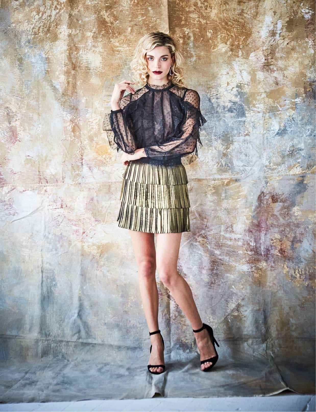 BCBG Max Azria Leora top, $228, Belk. BCBG Max Azria Zana skirt, $158, Belk. Carolee earrings, $75, Belk. Model's own shoes.