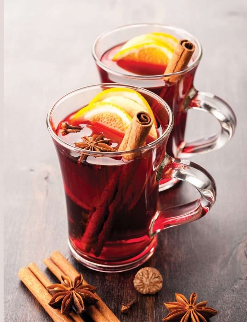 1bottle (750 mL) of red wine 3 cinnamon sticks rind of 1 orange 4 whole cloves 1 small roughly grated nutmeg 2 whole star anise ¼ cup honey » Add all the ingredients to a saucepan, and heat just to boiling, then quickly reduce heat to the lowest setting. Cover and let simmer for at least 20-30 minutes, stirring occasionally. Serve in thick glasses or mugs and garnish as desired, with strips of orange zest, cinnamon sticks, or other spices.