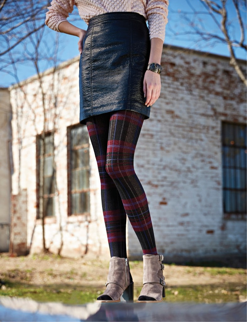 Marc by Marc Jacobs skirt, $228: Belk. Rag and Bone shoes, $495: Tootsies. Plaid tights: Belk.