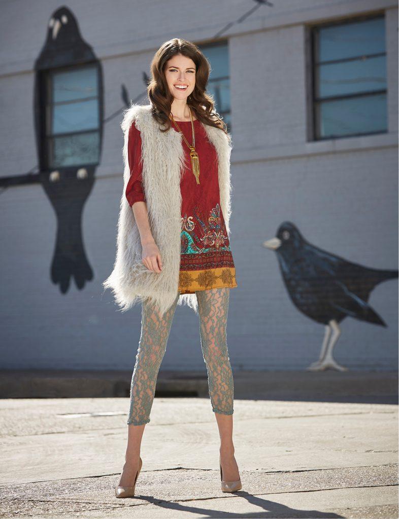 BeBop dress, $30; 1.State faux fur vest, $179; Vince Camuto necklace, $128: Belk. Lace pant, $29: Vickie B's Boutique, 713-882-4709. Model's own shoes.