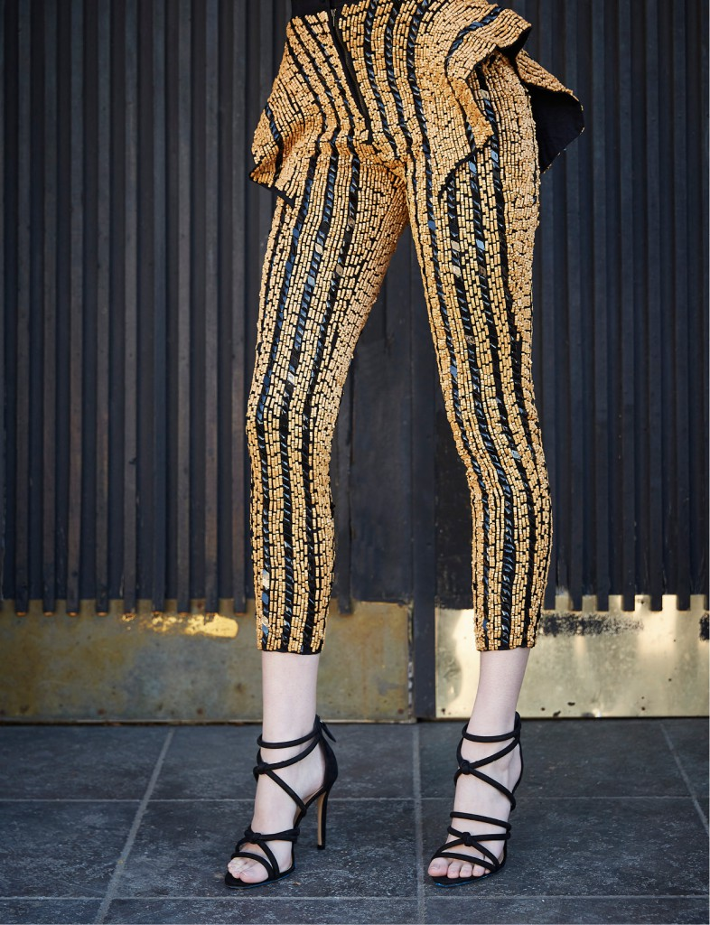 Ese Azenabor wood beaded peplum leggings, $1,500: ShopEseAzenabor.com. Schutz shoes, $190: Tootsies.