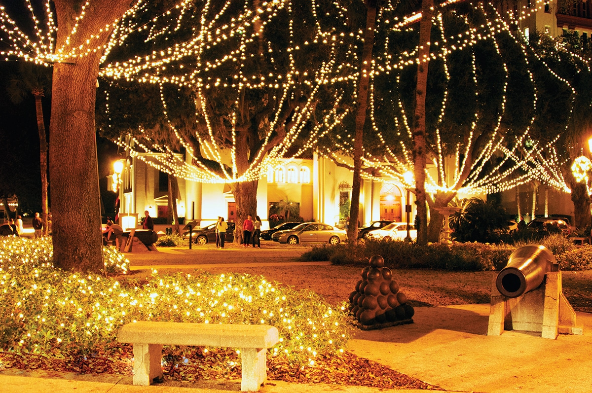 millions of tiny white lights illuminate st augustine during the annual nights of lights celebration