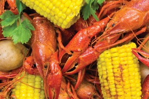 Boiled crawfish and corn medley.