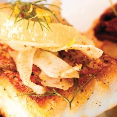 Seared Gulf Red Snapper with Caramelized Fennel and Olive Crostini