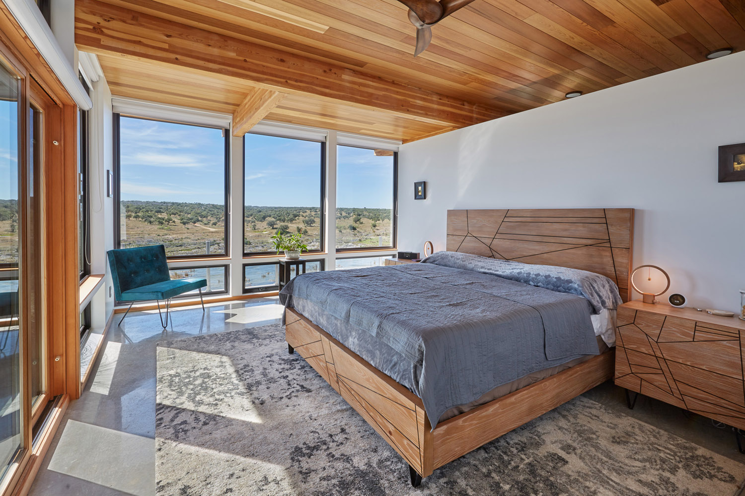 Master bedroom at Jeff Derebery's custom Lindal Hestia home in the Texas Hill Country, Johnson City