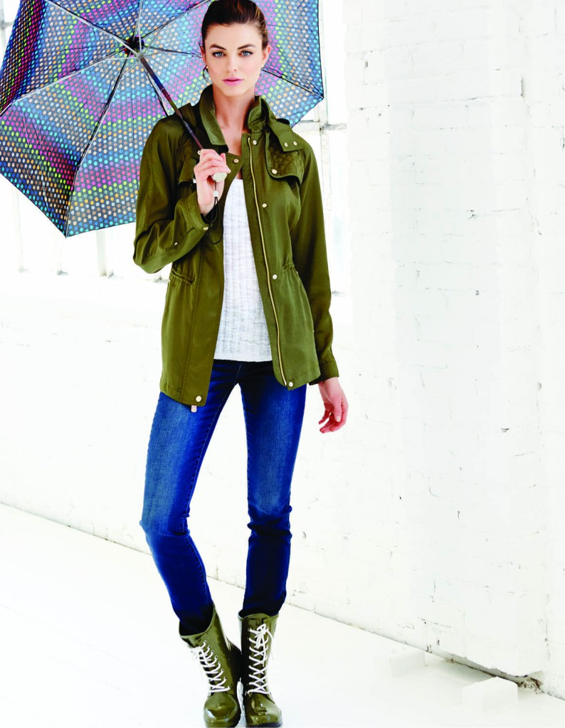 Vince Camuto jacket, $140: Nordstrom. Ribbed cotton-blend tank, $89.50: Michael Kors North Park Center. Calvin Klein denim, $69.50: Belk. Epaga camo boots, $92: Roma. Totes black dot umbrella, $26: Belk. Vince Camuto studs, $25: Belk.