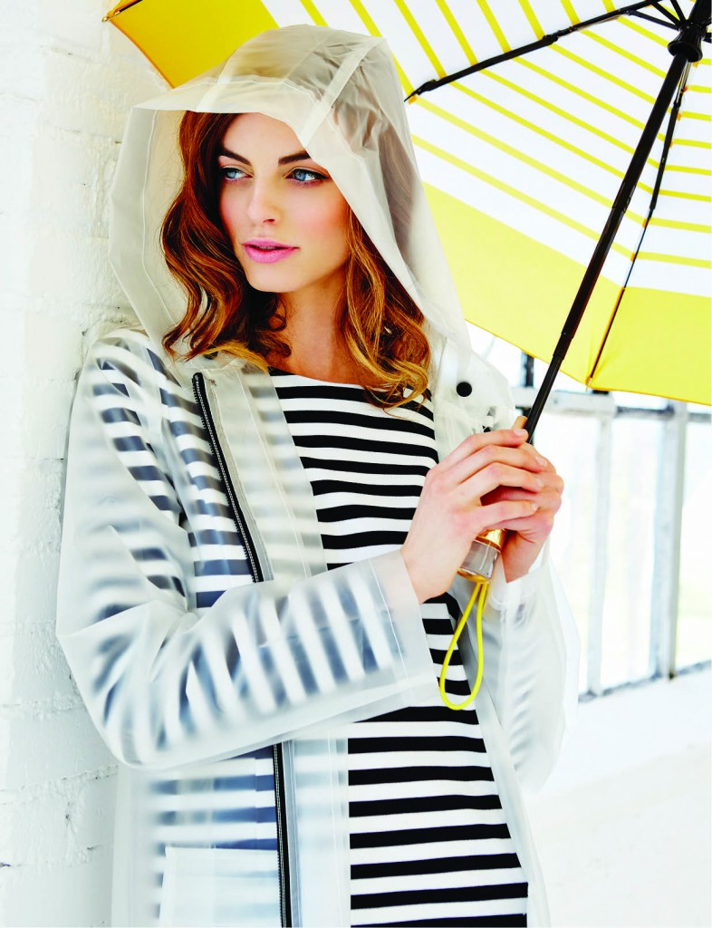 Spread clear jacket, $190: Nordstrom. Zip-Detail striped dress, $150: Michael Kors North Park Center. Michael Kors umbrella, $58: Belk. Vince Camuto earrings, $38: Belk. Vince Camuto necklace, $42: Belk.