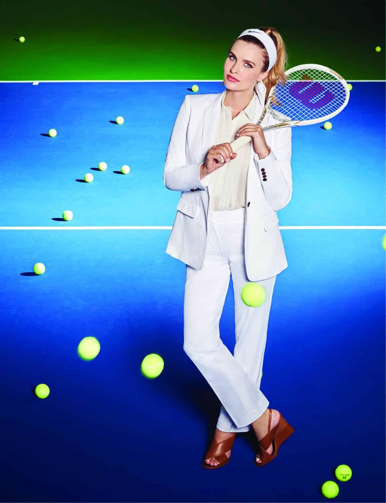 Pleated hi-lo tunic: Banana Republic, $48. One button jacket: Ann Taylor, $84.50. Straight leg pants: Ann Taylor, $44.50. Tory Burch wedge: Tootsies, $350. Dri-Fit 2.0 head tie: Nike, $17.