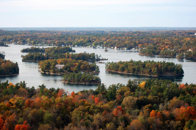 Aerian view of Thousand Islands in fall, from Sky deck on Hill I