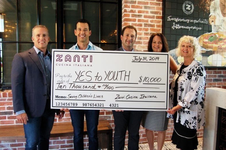 YES to YOUTH is the beneficiary of a $10,000 donation thanks to the newly opened Santi Cucina Italiana restauran