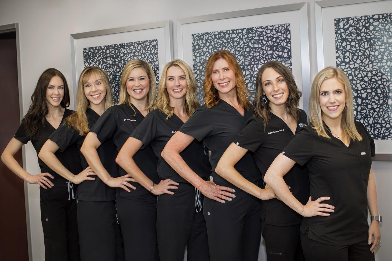 Colleen Connolly, Aesthetician, Dr. Megan Schlichte, Dr. Amy Bumgardner, Dr. Kristyn Payne, Shane Hunter, RN, Megan Slomka, RNP, Dr. Kristin Wolf