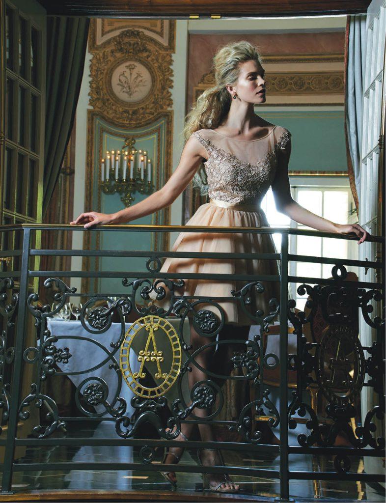Eliza J. nude jeweled bodice dress with tulle skirt, $398: Nordstrom. Steve Madden jeweled t-strap heel, $100: Steve Madden. Kate Spade rhinestone drop earrings, $35: Kate Spade.