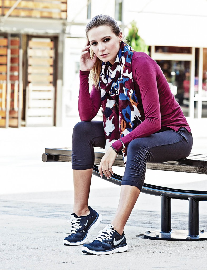 Watercolor floral scarf, $39.50: LOFT. Long sleeved maroon shirt, $16: Kohl's. lululemon Sunset Salutation crop, $95: Exhale Spa. Katy Grey initial bracelets, $66: Exhale Spa. Nike Flex Experience shoes, $65: Kohl's.
