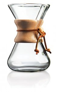 The Five Cup Handblown CHEMEX features a cool polished wood collar with leather tie—a perfect way to add a mid-century modern look to your coffee bar. ($83.90, Chemex.com)