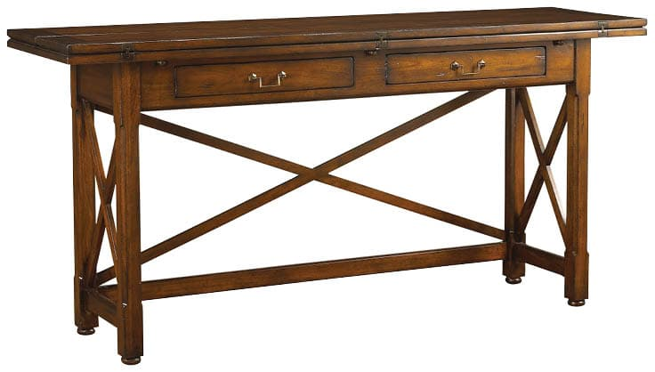 Although more rustic in nature, this craftsman-inspired Chasseur Hunt Table is right at home either behind a sofa or standing alone as a table or desk. Butterfly hinges allow the top to open to double the work space, and the cross-bracing ensures this table is as sturdy as it is beautiful. FrenchHeritage.com