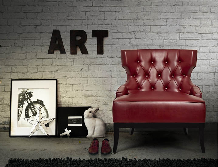 Likewise, the MAORI armchair, inspired by a New Zealand tribe of the same name, features tufted synthetic leather fabric in bold, show-stopping masculine blood red. Brabbu.com