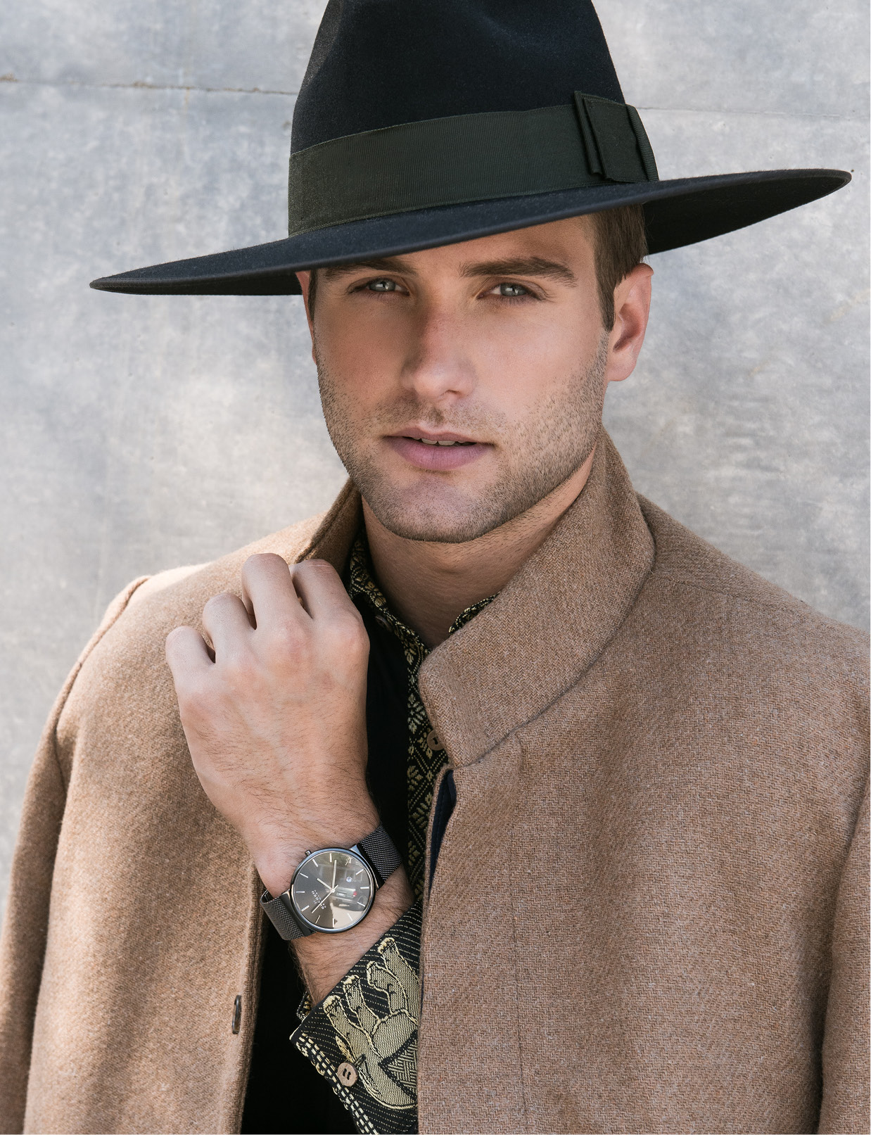 Mysterious by NPN Black Elephant dress shirt, $160.00: MysteriousbyNPN.com. TraditionLK Camel coat, price upon request: TraditionLK.com.  Skagen Gunmetal mesh watch, $175: Belk. Stetson Tri-City hat, prices vary: Stetsonhat.com.