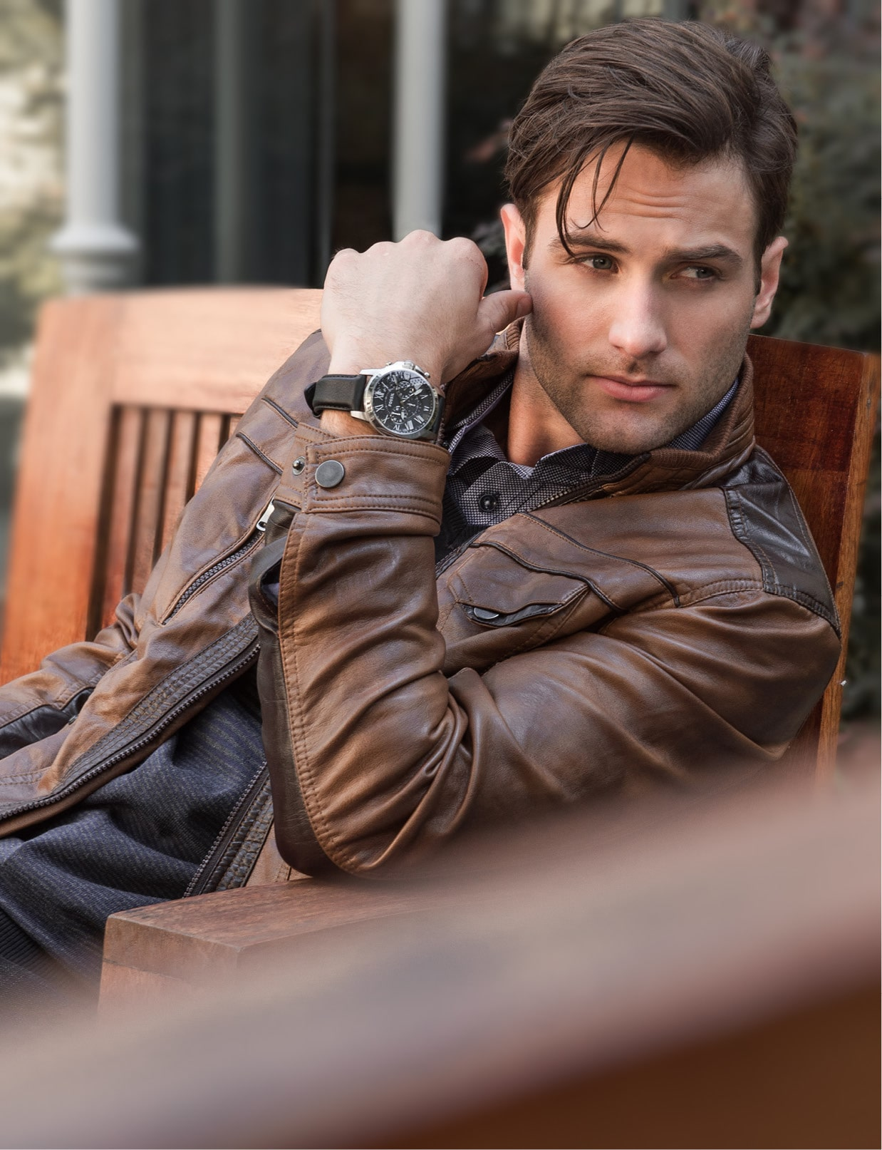 Tasso Elba shirt, $69.50: Macy's. Alfani knit sweater $69.50: Macy's. International Concepts two-tone jacket, $129.50: Macy's. Fossil Grant chronograph watch, $115: Belk.