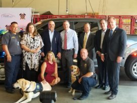 Houston Professional Fire Fighters Association Charitable Foundation presented the HFD Arson Division with two new trucks
