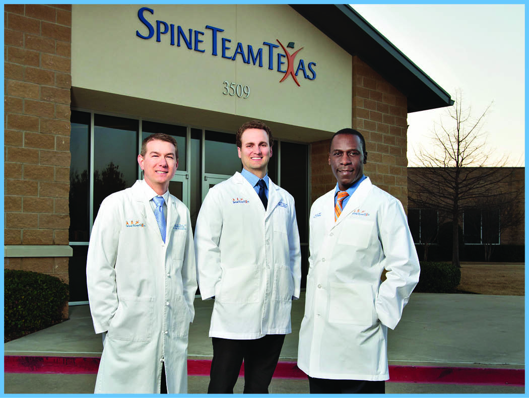 Pictured L to R: Anthony Berg, MD, Spine Pain  Anesthesiologist; Carver  Wilkins, MD, Physical Medicine & Rehabilitation Specialist; Leonard Kibuule, MD, Spine Surgeon