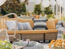 how to style an outdoor space, sunroom, patio, roofless room, porch